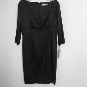 Calvin Klein black cocktail dress 12P silky satin